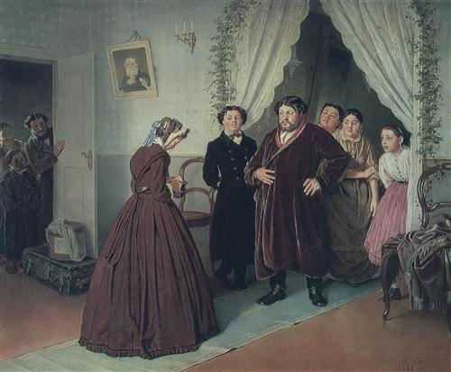 arrival of a new governess in a merchan house by vasily perov 1866