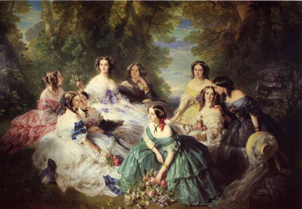 the empress eugc3a9nie surrounded by her ladies in waiting by franz xaver winterhalter 1855 e1528666241655