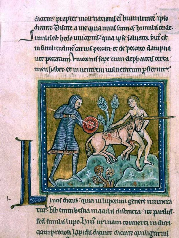Unicorn Hunt, Rochester Bestiary, 14th century.