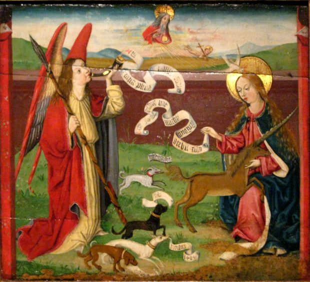 The Mystic Hunt of the Unicorn by Martin Schongauer, 1489.