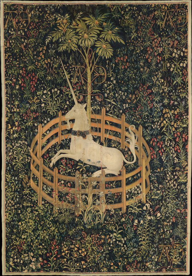 The Unicorn in Captivity. One of the series of seven tapestries The Hunt of the Unicorn, 1495-1505.