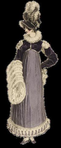 1816 walking dress purple muff print ps