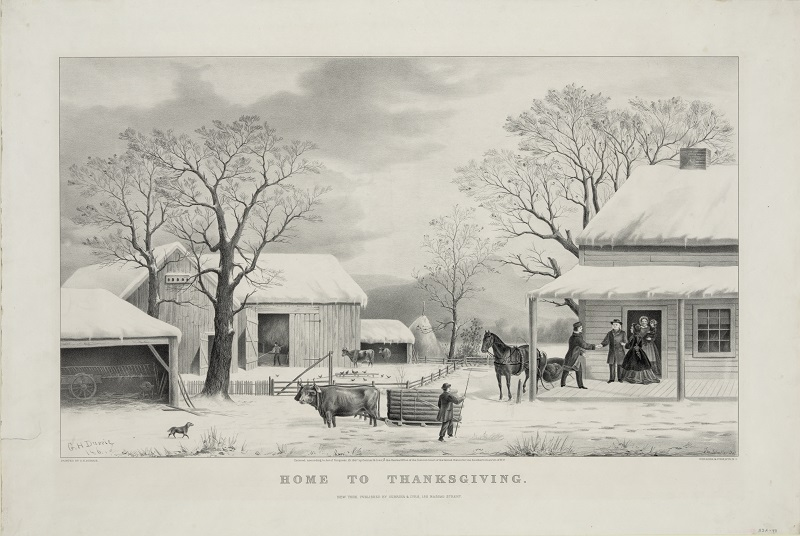 Home To Thanksgiving, published by Currier and Ives, 1867.