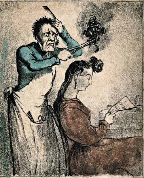 a hair dresser accidentally severing a womans locks with his curling tongs image via wellcome library e1578614183645