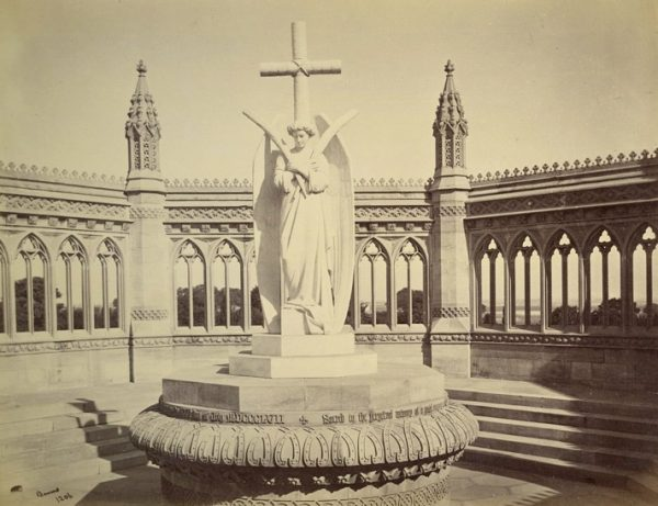 Photograph of the Marble statue over the Memorial Well by Samuel Bourne, 1860.
