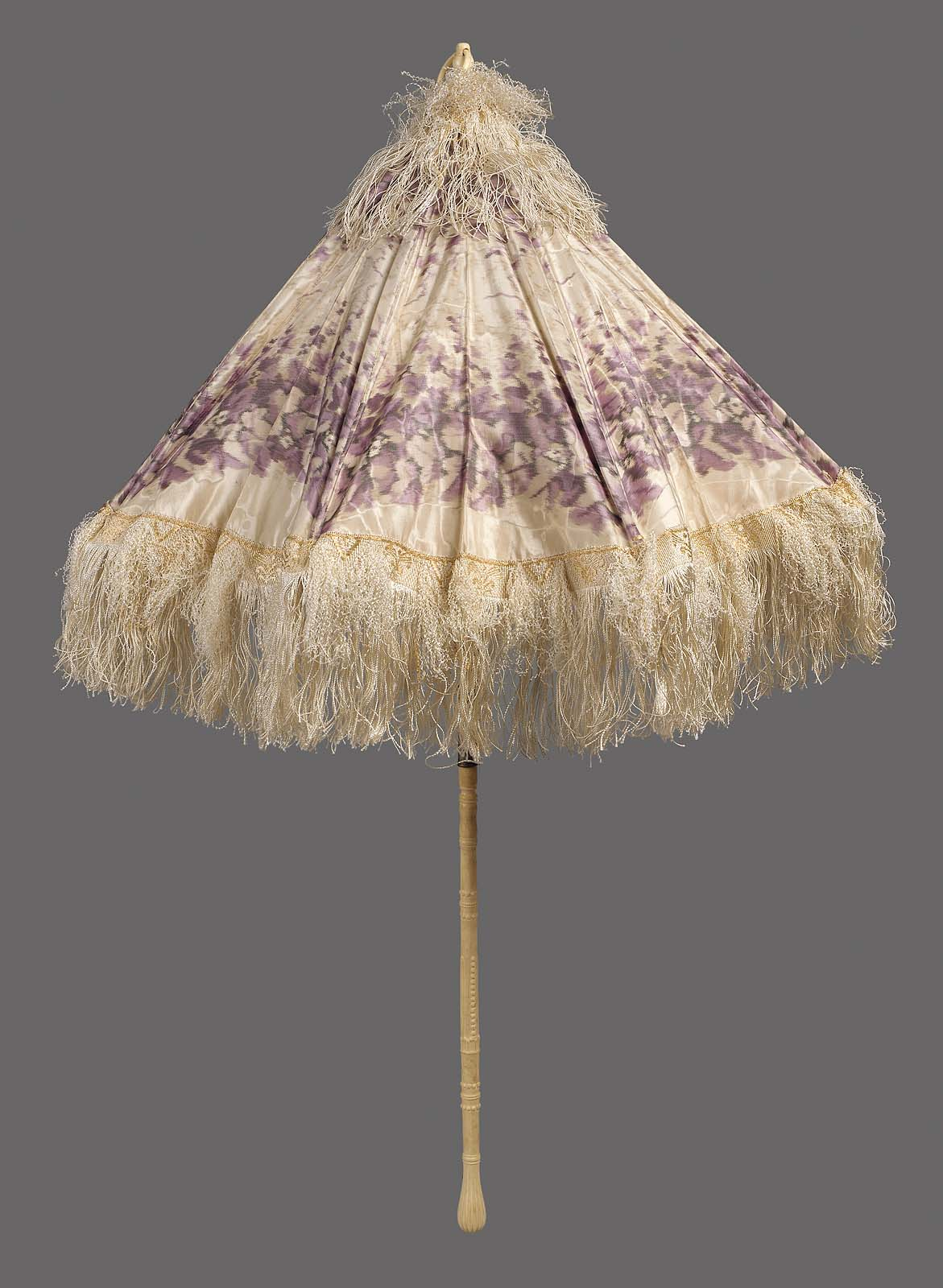 1840 1865 american parasol of moire silk taffeta chine with ikatted design of purple vegetative motif on white via mfa boston