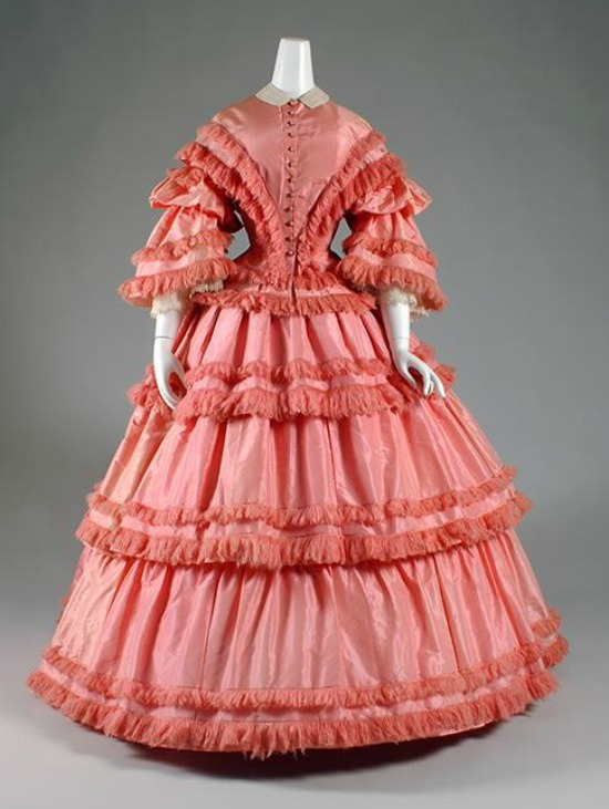 1857 Pink Silk Taffeta Afternoon Dress.(Museum at FIT)