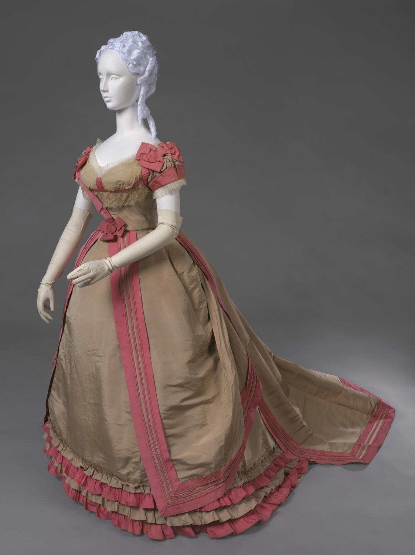 1866 1868 evening dress of tan and pink silk faille via philadelphia museum
