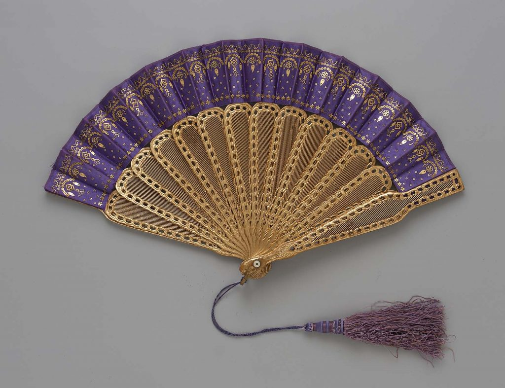 1867 1876 american fan of silk satin leaf with brass sequins gold covered wood sticks and mother of pearl via mfa boston