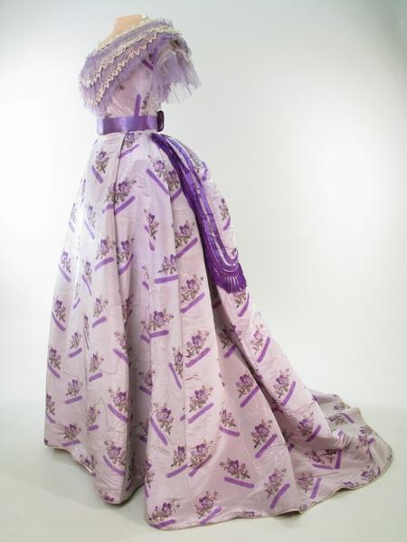 1868 1870 dress of mauve grey watered silk via manchester art gallery
