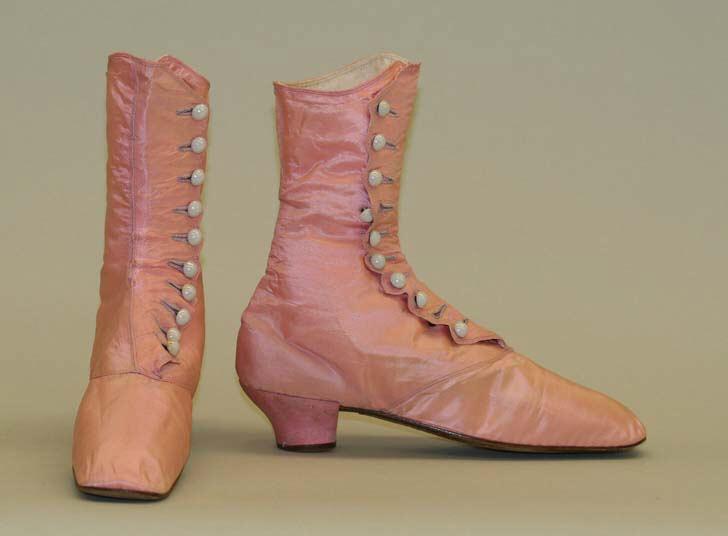 1870 american pink evening boots via met museum