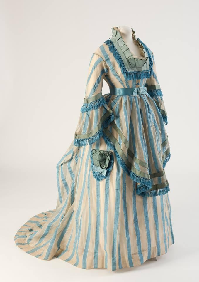 1874 day dress of blue striped cotton gauze via fashion museum bath