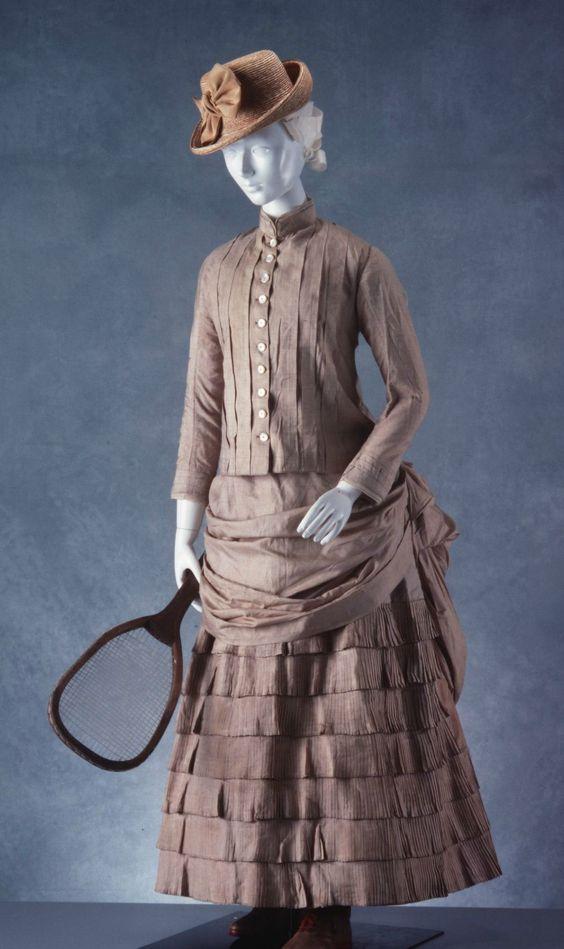 1880 1890 british two piece tennis ensemble bodice and skirt tussore silk via powerhouse museum