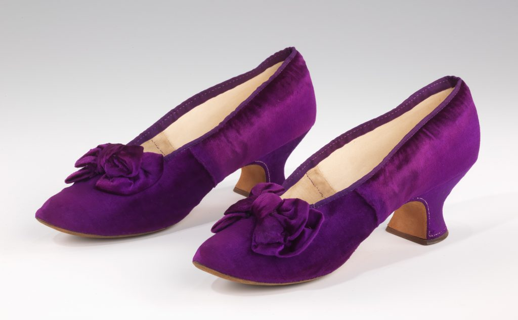 1885 1890 j ferry evening slippers of purple pannc3a9 velvet via met museum