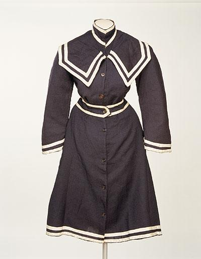 1890 1900 bathing costume of blue twilled wool via manchester city galleries