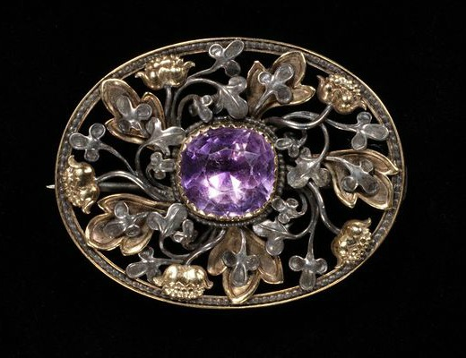 1890 gold silver and amethyst brooch designed by edward burne jones via victoria and albert museum1