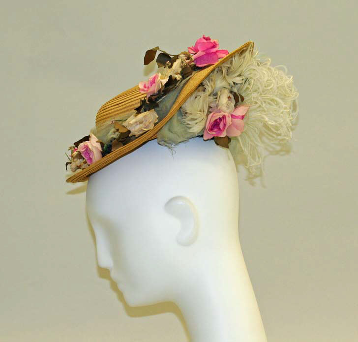 1892 1895 straw hat with pink silk flowers and feathers 2 via met museum