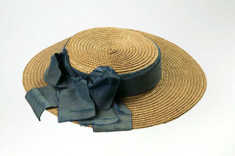 girls straw boater trimmed with a band buckle and bow of blue silk ribbon 1870 1875 via victoria and albert museum