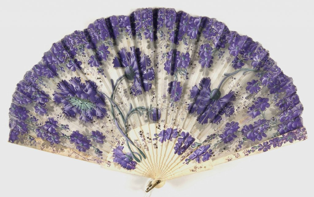 late 19th century early 20th century fan of sheer silk plain weave with paint and metal sequins and bone sticks via philadelphia museum
