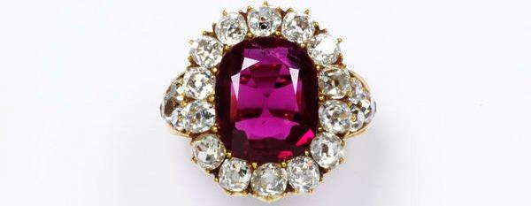 1850 ruby set wtih rose cut diamonds in gold via victoria and albert museum