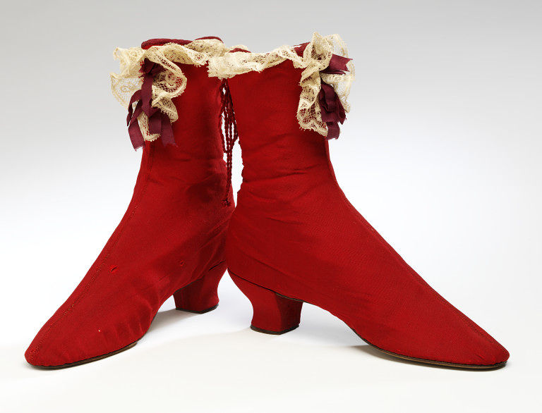 1865 1875 red ribbed silk boot with lace trim via victoria and albert museum