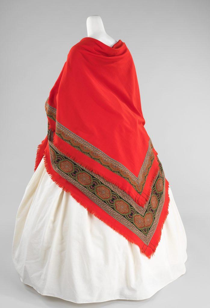 1866 wool red wedding shawl via met museum