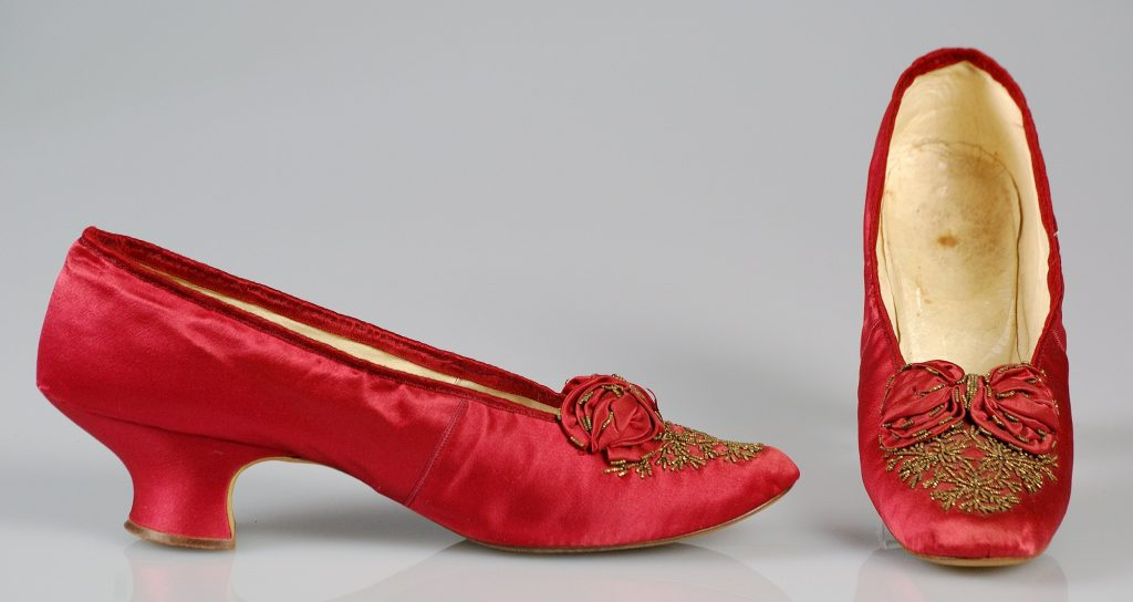 1875-1885 Red Silk Beaded Evening Slippers.(Met Museum)