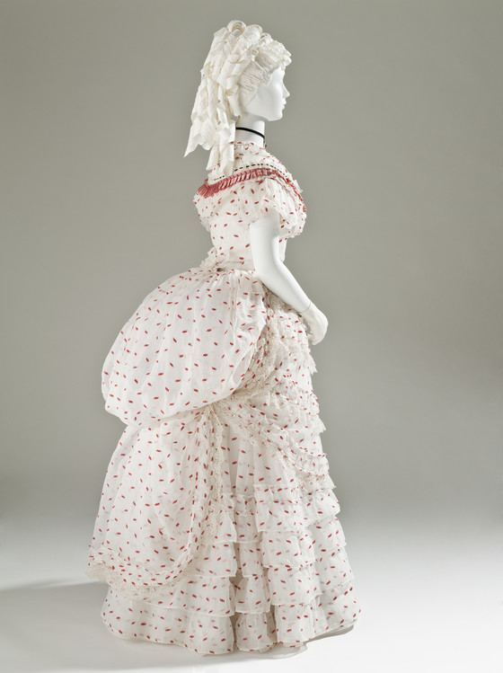 1875 white and red cotton dress with silk ribbons via lacma