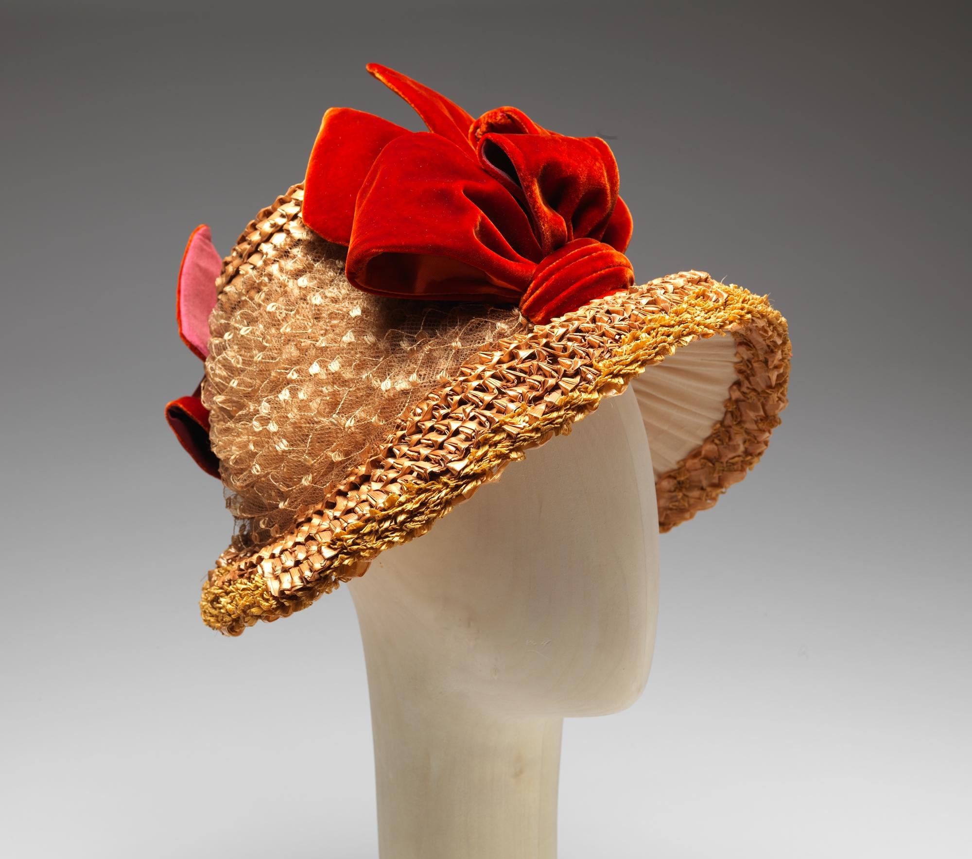 1879e2809384 american poke bonnet with red velvet ribbons via met museum