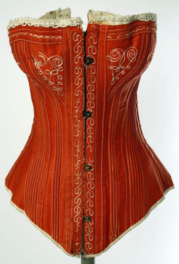 1880s red cotton corset via met museum