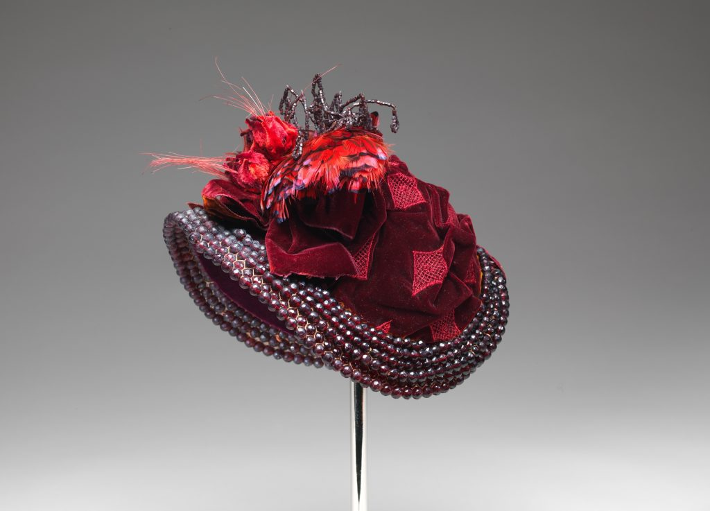 1883 french bonnet of silk beads feathers and wire 1 via met museum