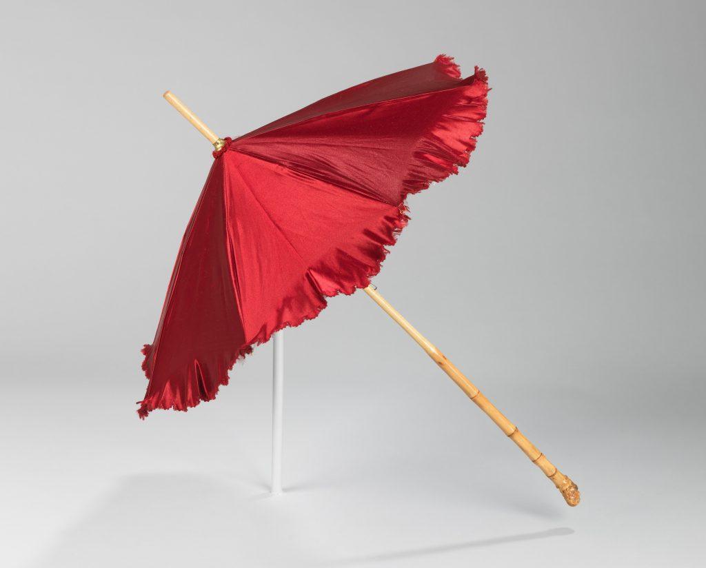 1886 red silk parasol via met museum