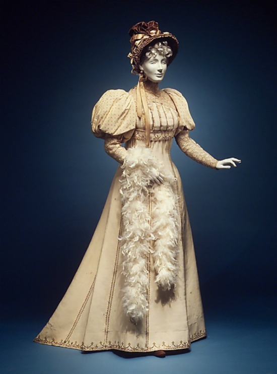 1892 house of worth silk and cotton afternoon dress via met museum1