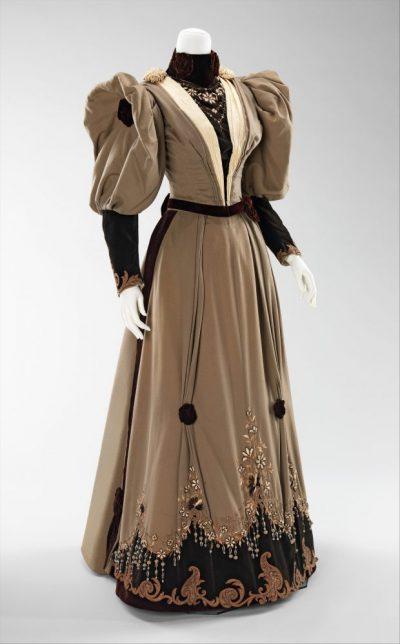1893 evening dress of silk wool rhinestones metal via met museum e1504333368563