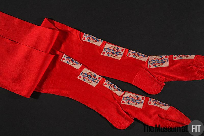 1900 red silk knit stockings via museum at fit