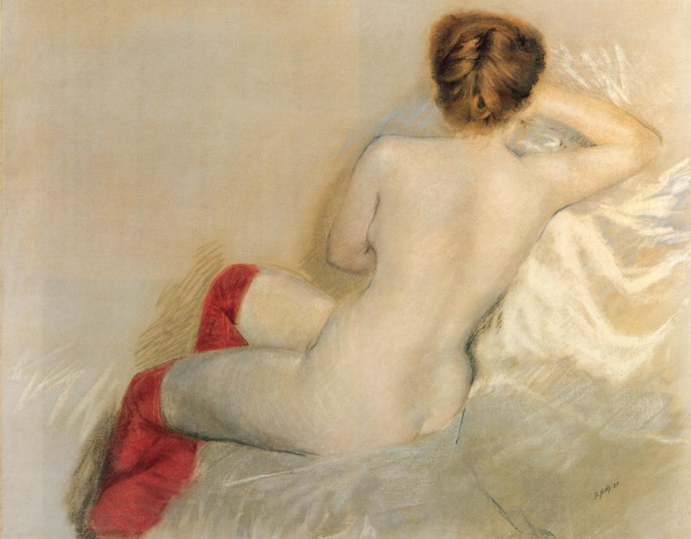 nude with red stockings by guiseppe de nittis 1879