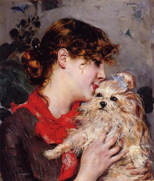 the actress rejane and her dog by giovanni boldini 1885