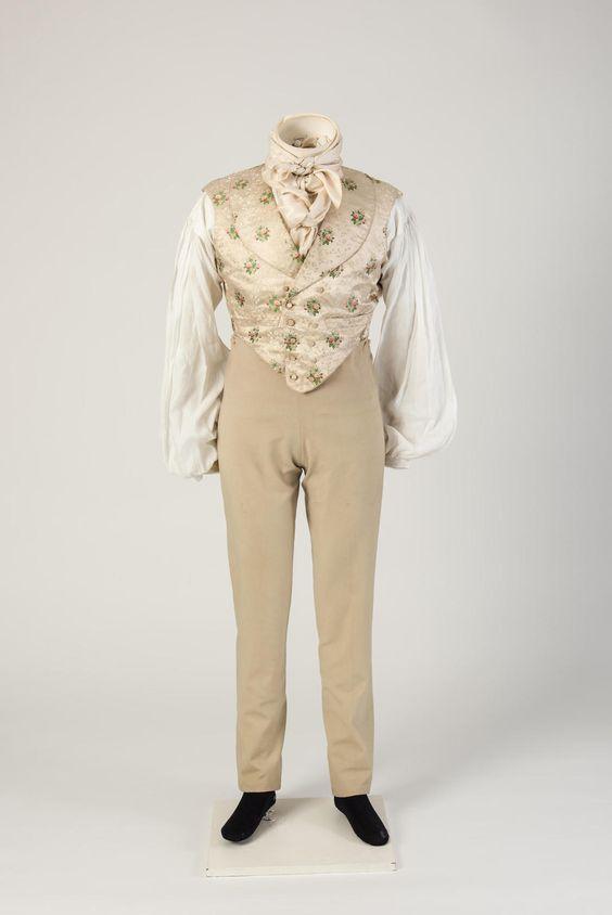 1820s mans woollen trousers worn with figured silk waistcoat via fashion museum bath