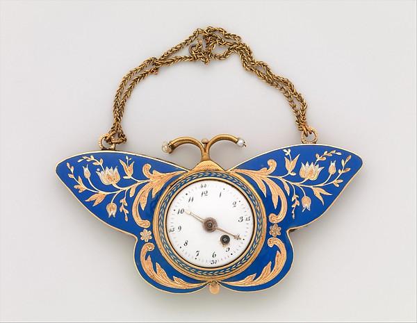 1840 1850 gold enamel and pearl butterfly watch 2 via met museum