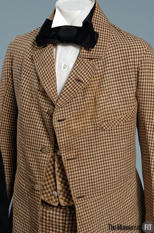 1845 brown and white cotton and linen suit via museum at fit