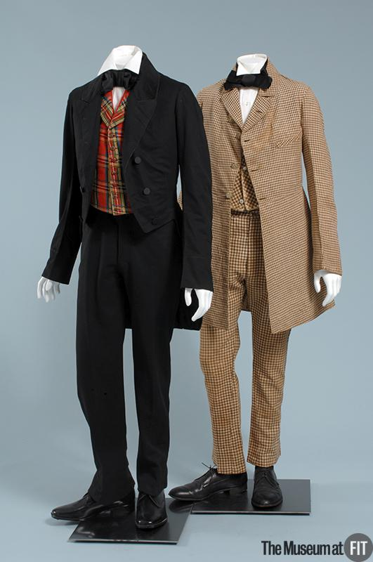 1850 black wool suit with checkered vest 1 via museum at fit
