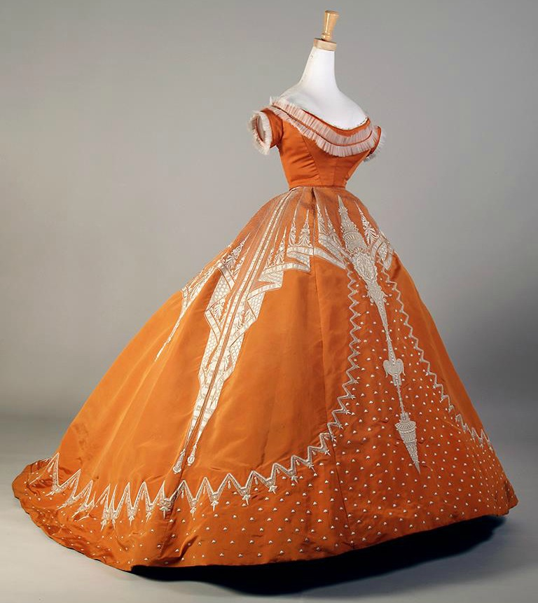 1865 67 house of worth orange silk evening dress with white embroidery via 2 kent state museum1