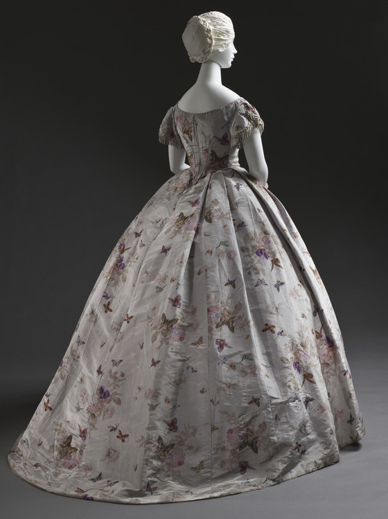 1865 silk taffeta butterfly dress via lacma