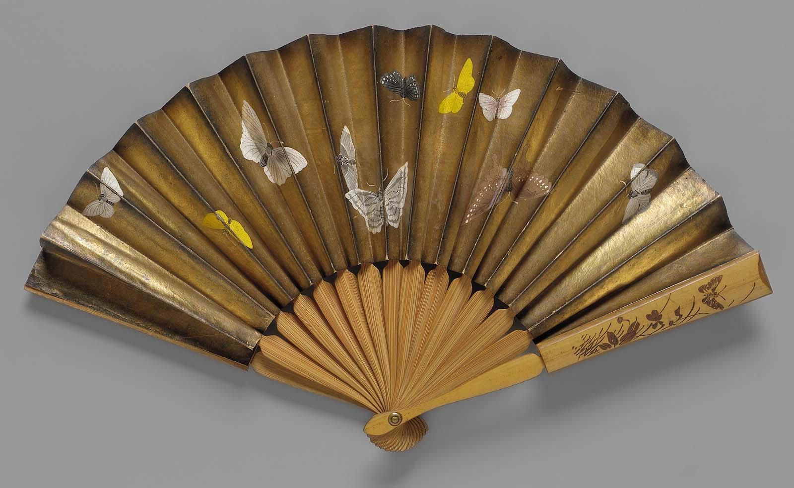 1875 paper leaf folding fan with butterfly design via mfa boston