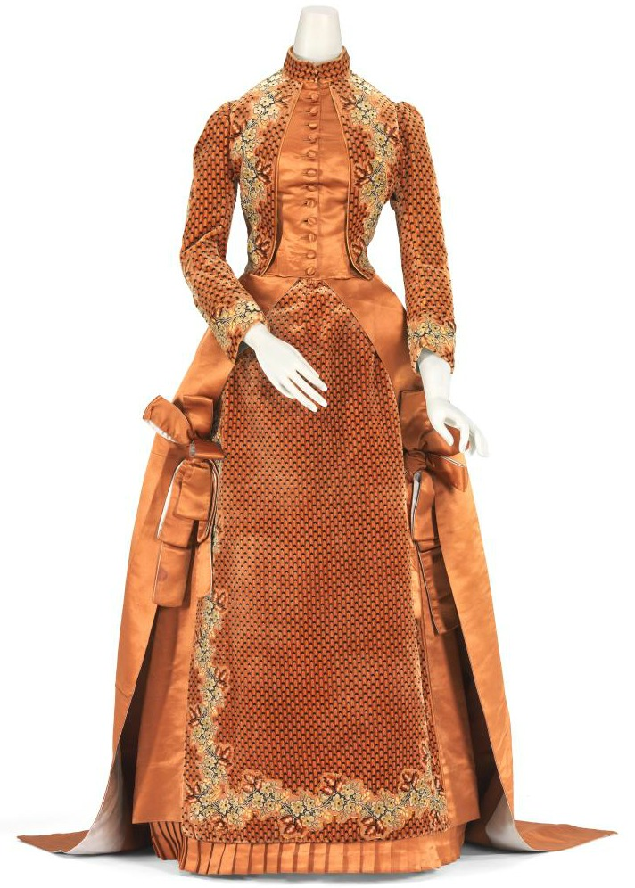 1884 house of worth orange silk afternoon dress via national gallery of victoria1