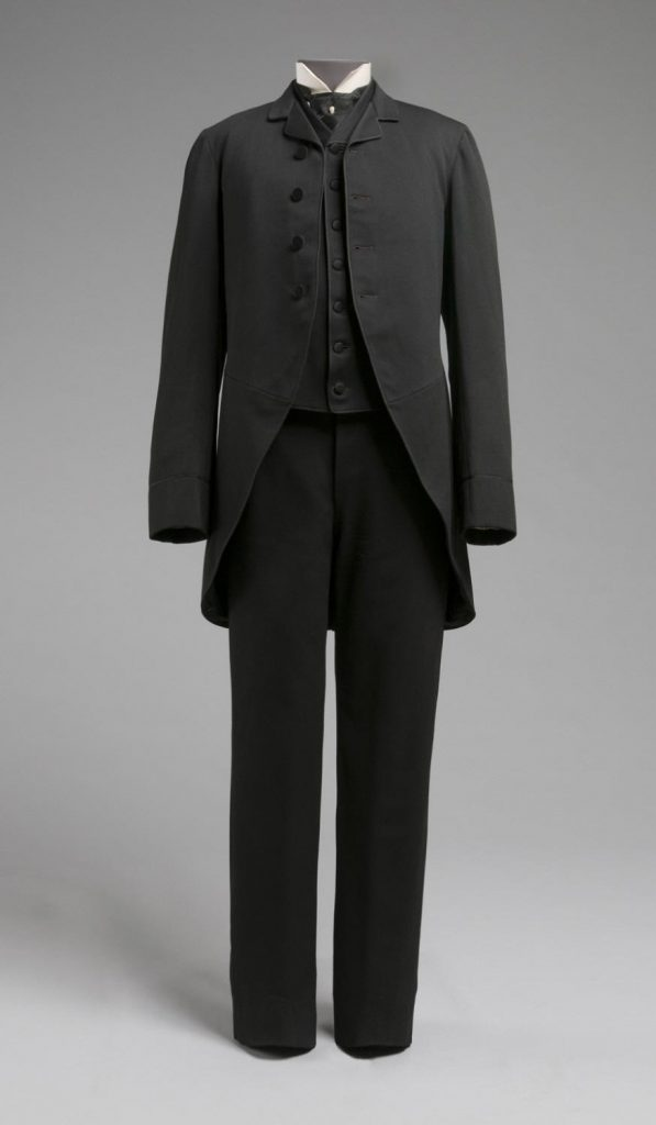 1885 wedding suit of cutaway coat trousers and waistcoat via philadelphia museum of art
