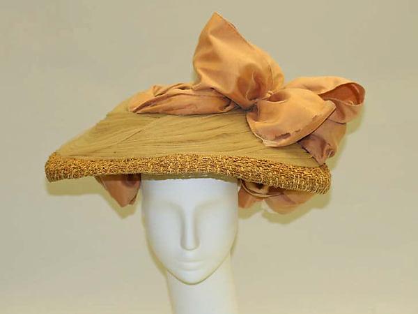 1890s peach colored straw hat met museum