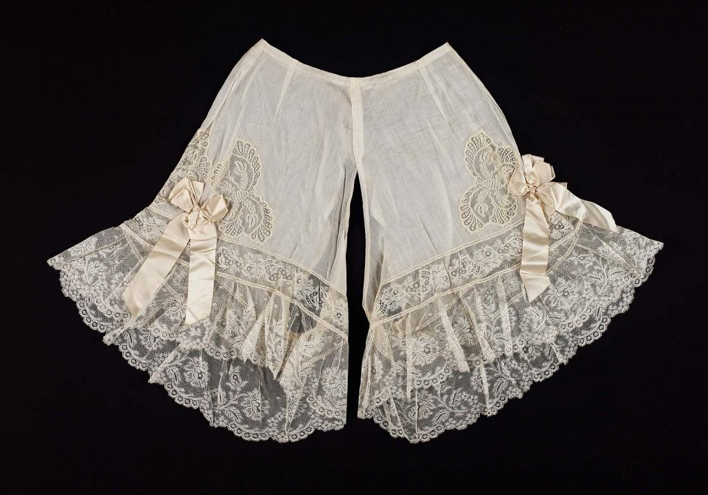 1900 pair of french cotton drawers with butterfly insets and ruffled flounce via mfa boston