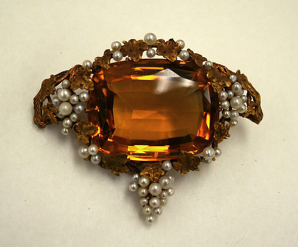 late 19th century topaz pearl and gold brooch via met museum