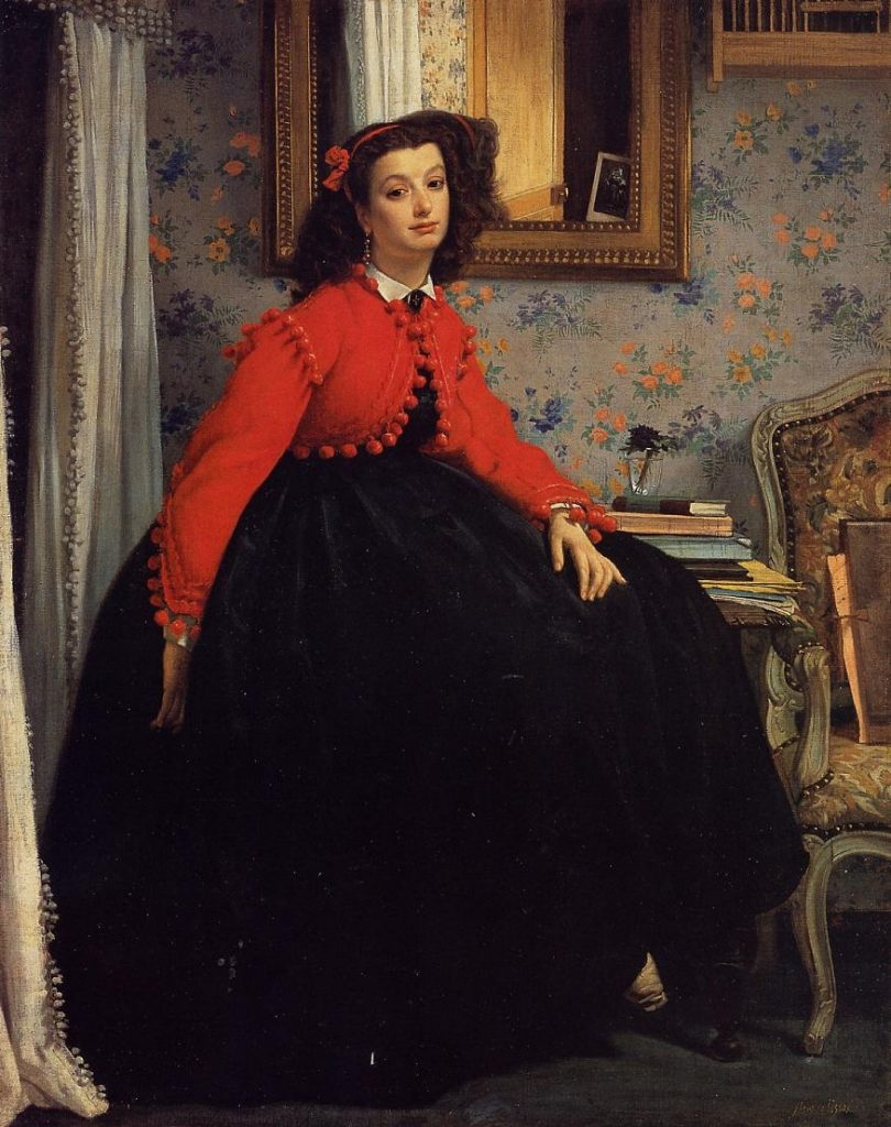 portrait of mlle l l young lady in a red jacket by james tissot 1864